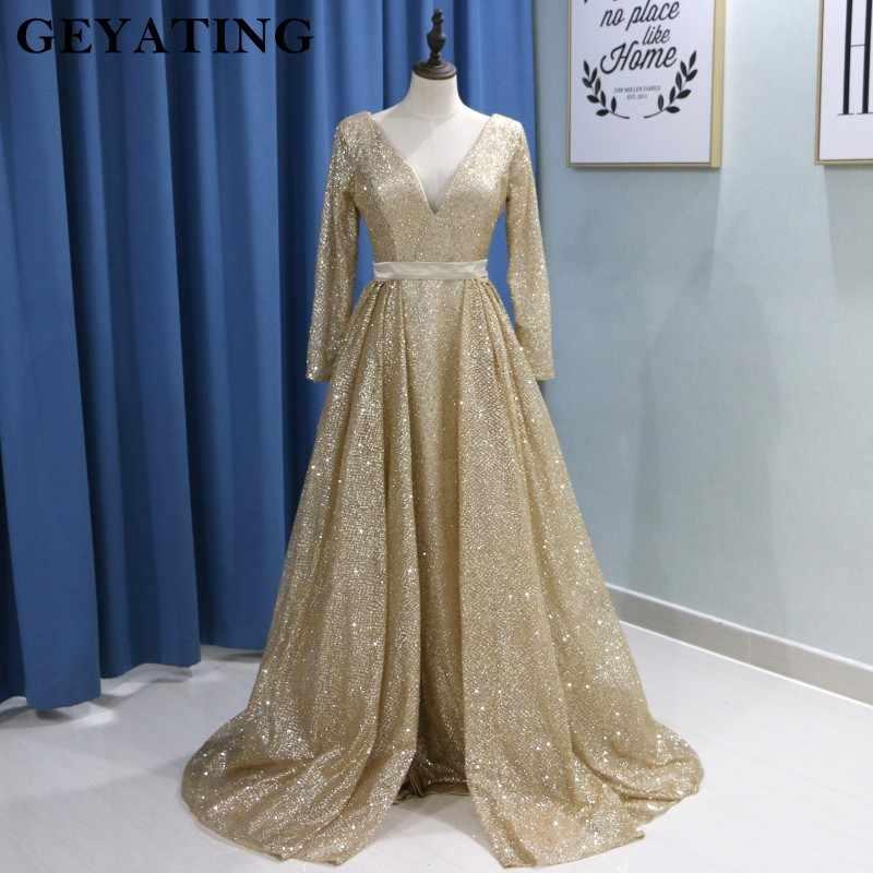 2e53b695cf7 Арабский Для женщин Длинные вечерние платья с одежда с длинным рукавом  v-образным вырезом блестящие