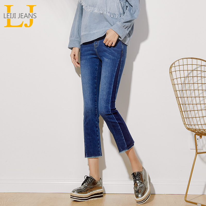 LEIJIJEANS Spring Plus Size Contrast Color Fashion Panelled Bleach Mid Waist Ankle Length Skinny Flare Women Stretch   Jeans