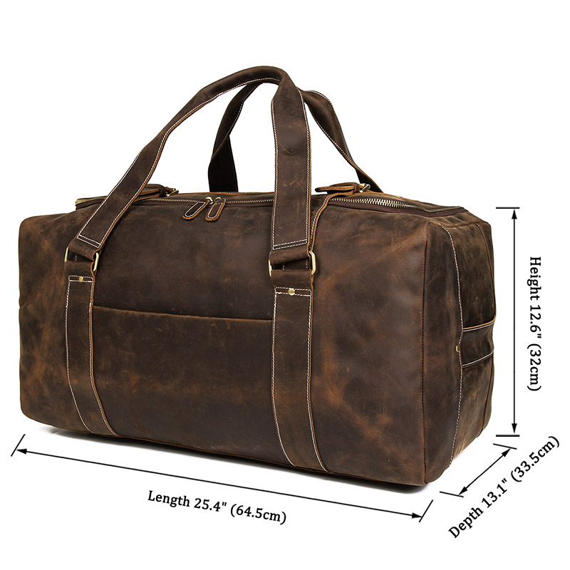 e7ae27de54 J.M.D Crazy Horse Genuine Leather Travel Bag Men Vintage Travel ...