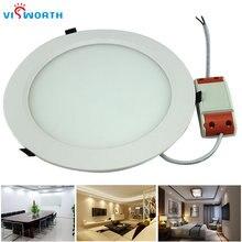 VisWorth 5 Вт 24 Вт светодиодные панели круглые Ультра тонкие светодиодные светильники теплый белый холодный белый с водителем и проводом