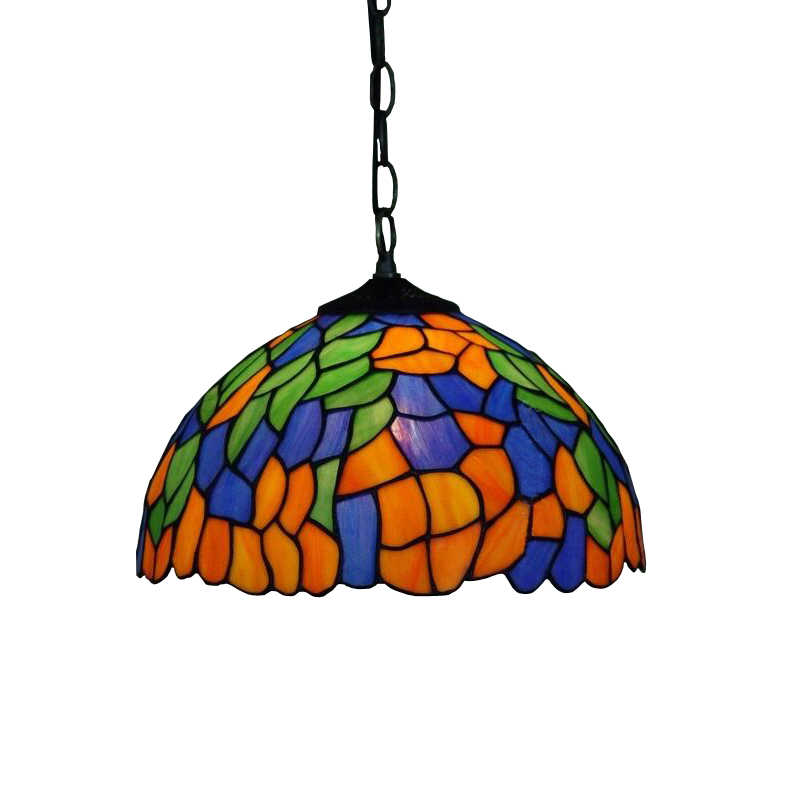 Yellow Blue Green Leaf Stained Glass European Garden Metal Chain Led Hanglamp Pendant Lamp Light Fixtures Dining Room Lighting fumat stained glass ceiling lamp european church corridor magnolia etched glass indoor light fixtures for balcony front porch