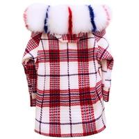 Large Fur Collar Hooded Women Winter Coat Snow Wear Thick Warm Fashion Plaid Woolen Coat Lambswool Loose Outwear Jacket Parkas