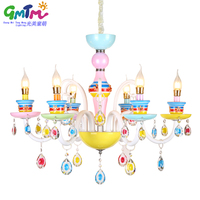 Hot Beautiful Cute Colorful Lighting Crystal Chandelier Modern For Baby Room Little Girl Bedroom Princess Room