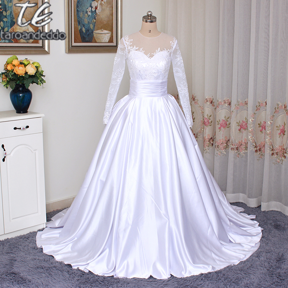 New Fashion 2018 New Arrival Two Pieces Wedding Dress With Detachable Skirt Ball Gowns Long Sleeves Side Slit Bridal Gowns Vestidos De Novia Excellent In Cushion Effect Weddings & Events