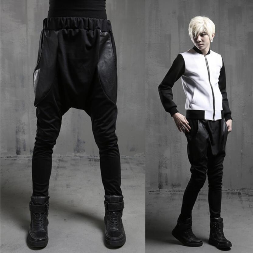 27 44 New fashion trendy men street dance Hari style leather spliced big pocket performance hip hop pants plus size harem pan