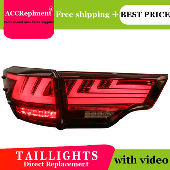 4PCS Car Styling for Toyota Highlander  Taillights 2014-2018  for Pajero   LED Tail Lamp+Turn Signal+Brake+Reverse LED light