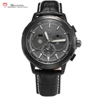 New Shark Watch Waterproof White Hands Date Display Fashion Male Clock Black Leather Band Analog 6