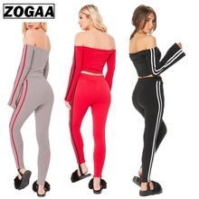 ZOGAA Women Sets 2019 Sexy Off Shoulder Two Pieces Casual Tracksuit Side-striped Crop Tops Ankle-length Pants Sportwear Set S-XL