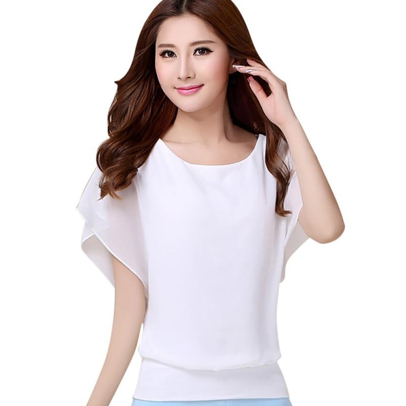 Chiffon Women's   Shirt   Slim Short Batwing Sleeve Loose   Blouse   Fashion Summer Casual Tops O Neck   Shirt   Feminina Plus Size 5XL 4XL
