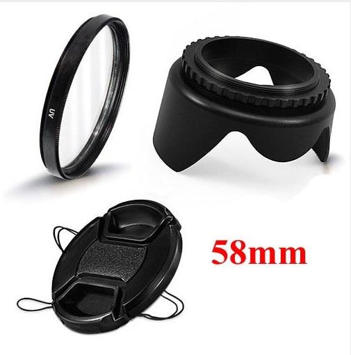 58mm Camera Accessories 3 In 1 Set UV Lens Filter Lens Cap Lens Hood For Canon EOS 1100D 650D 600D 550D