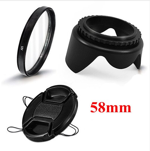 58mm Camera <font><b>Accessories</b></font> 3 in 1 set UV Lens Filter Lens Cap Lens Hood for <font><b>Canon</b></font> <font><b>EOS</b></font> 1100D 650D 600D <font><b>550D</b></font> image