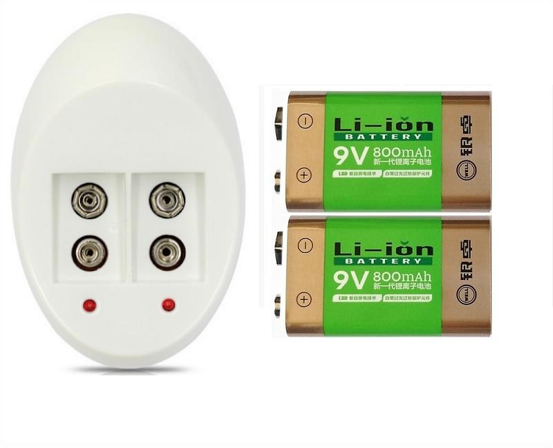 2PC 800 mAh SUPER BIG 9 v li-ion lithium 9 Volt Batterie Hersteller garantie+9 V charger
