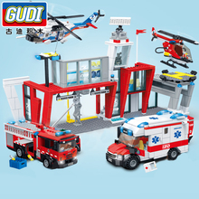 810pcs City Fire Station Blocks Car Firemen Building Compatible Enlighten Assembly Bricks Toys For Children
