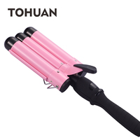 Professional Hair Curling Iron Waver Roller Wand LCD Display Ceramic Triple Barrels Deep Hair Curler Wave Curly Styling Tools