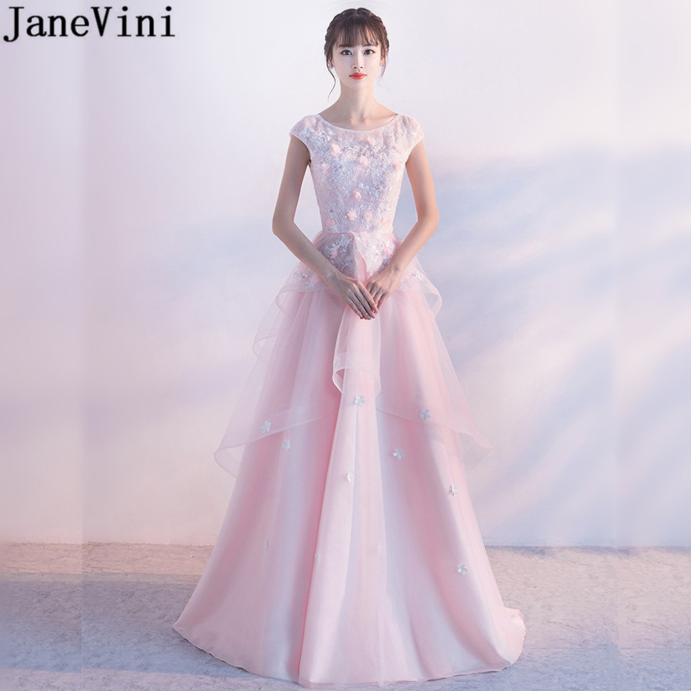 JaneVini Charming Pink Girls Wedding Party   Dress   Beaded Lace Flowers   Bridesmaid     Dresses   Long Backless Tulle Formal Prom Gown