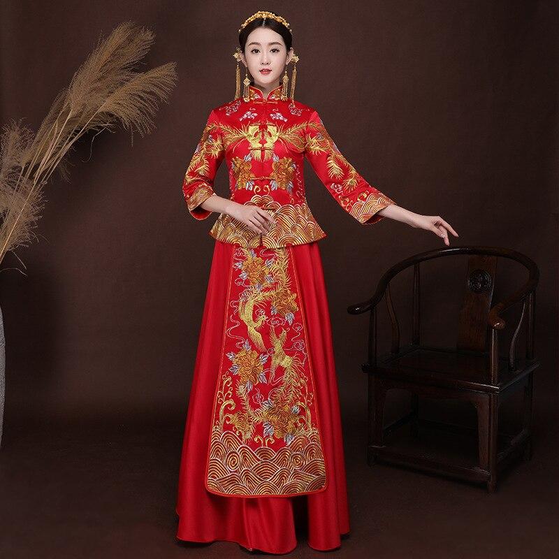 Nouveau rouge femmes traditionnel chinois robe de mariée broderie Cheongsam robe Vintage Qipao Vestido chine Robes Robes orientales