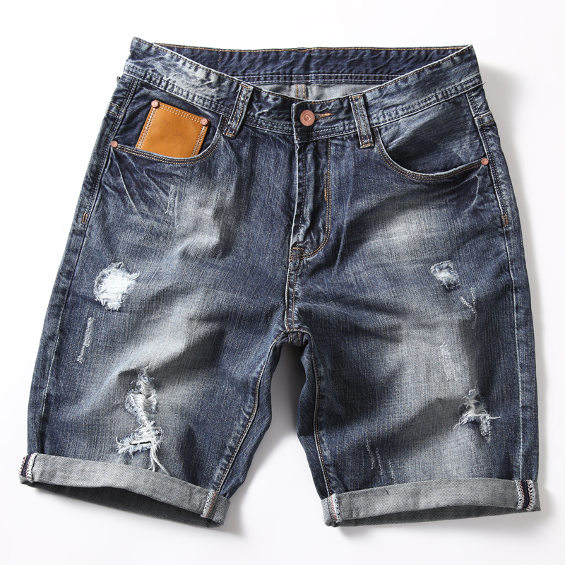 Denim Shorts Jeans Men's Casual Fashion Summer Brand Hole Male Ripped Slim-Fit Classic-Style