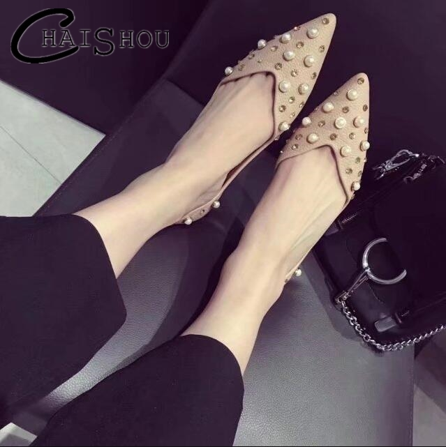 New 2018 women Shoes Women Pointed pearl Wild flat shoes Ballet Women's Flat Shoes Loafers Casual Shallow mouth Shoes Woman U159 casual ballet shoes women 100