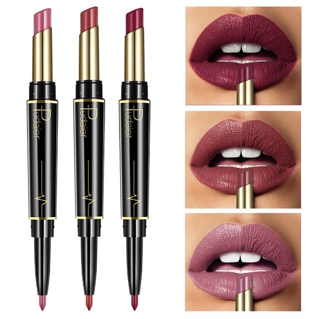 Pudaier marca Nude mate pintalabios delineador de labios Set doble extremo rojo lápiz de labios rojo oscuro impermeable de larga duración lipliner