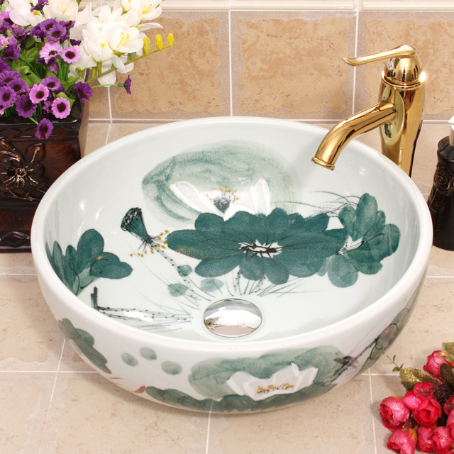 Lotus Europe Vintage Style Hand Painting Art Countertop Bathroom Round White  Porcelain Ceramic Vessel Sink
