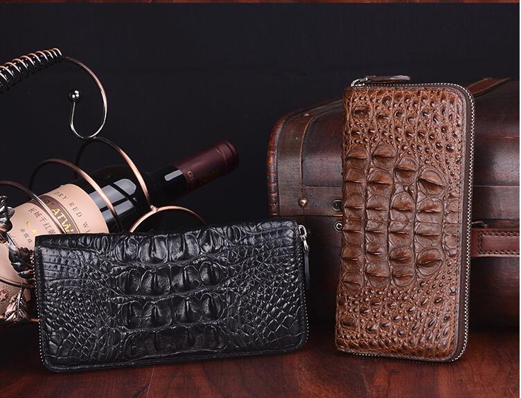 Nueva producción original piel de cocodrilo de 100% real Cartera de hombre cremallera bolso largo clutch masculino grandes descuentos promoción negro marrón