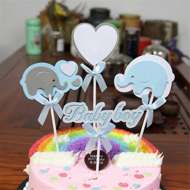 CRLEY 4pcs Cake Toppers Baby Shower Boy Girl 1st Birthday Topper Blue Pink Elephant Heart Bow Knot Personalized Design Top