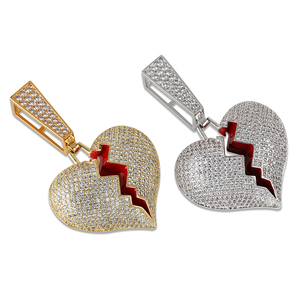 Image 3 - Ожерелье и кулон в форме сердца со сверкающим цирконием, большая кубинская цепь 14 мм в ширину, Ювелирное Украшение в стиле хип хоп золотого и серебряного цвета с кубическим цирконием для мужчин и женщин