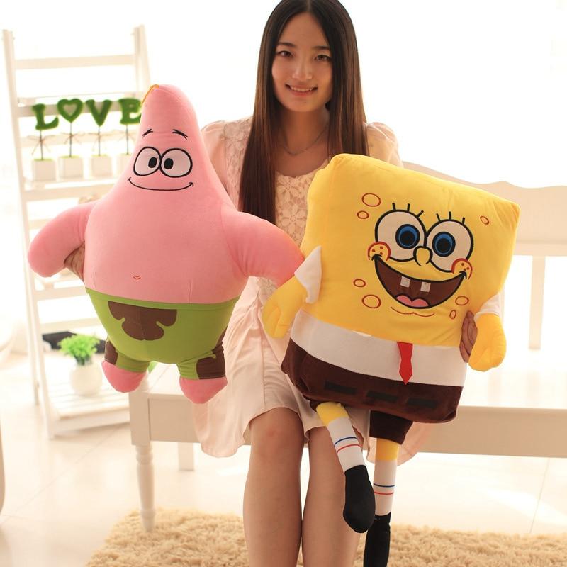 1pc 40cm-100cm Cartoon Spongebob Patrick Star Plush Animals Toys Plush Spongebob Pillow Sofa Cushion Birthday Gifts Kids Toy
