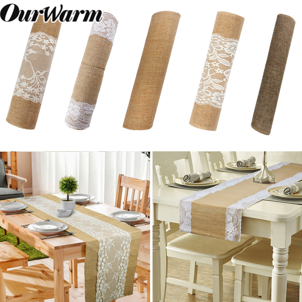 OurWarm Hessian Jute Lace Table Runner Natural Flower Burlap Table Cover Cloth Dinner Room Rustic Wedding Party Table Decoration