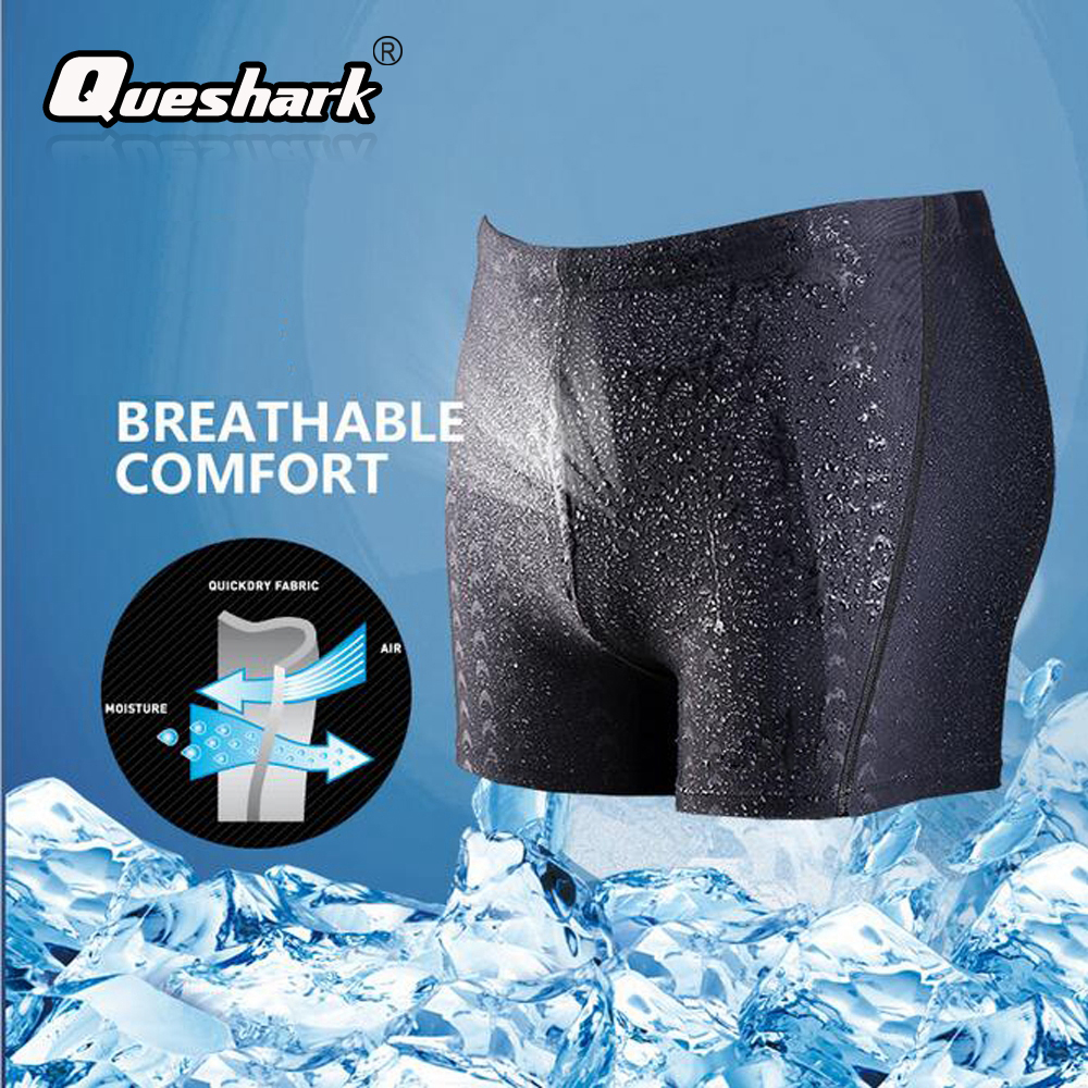 QUESHARK Men Sharkskin Swimwear Sexy Swimming Trunks Quick-drying Boxer Shorts Beach