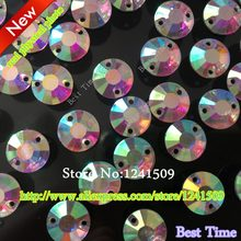 Resin Rhinestones DIY Loose Beads Hand Sewing White AB Color 8mm/10mm/12mm Round Flat Surface Shape Acrylic Garment Accessories(China)