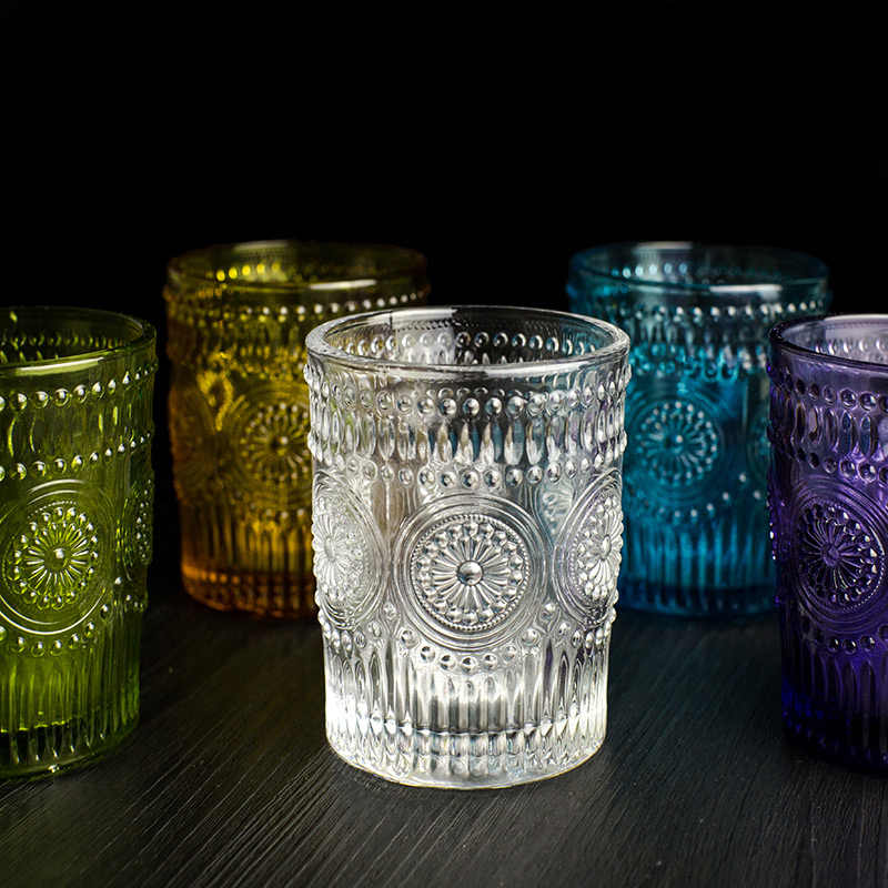 Retro Engraving Glass Round Small Sun Flower Emboss Juice Glasses Transparent Zakka Milk Cup 300ML High Quality Hand Blown