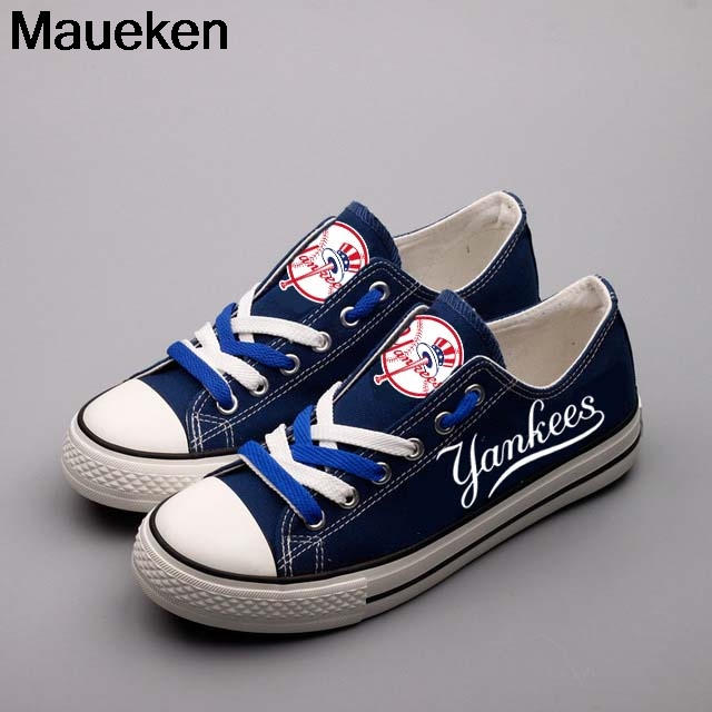 Cool 2018 men women unisex yankees nave blue diy Shoes for new york ny fans gift size 35-44 0507-2 ...