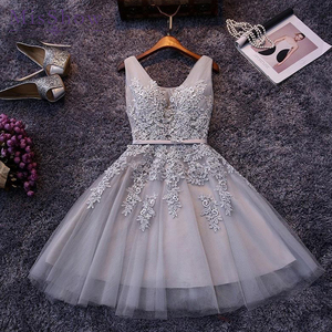 Image 3 - Short Lace Evening Dress 2020 Prom Formal Party Gown 2019 Sexy Applique V Neck Sleeveless robe de soiree