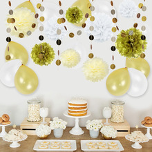 Set of 23 Party Decorations With Latex Balloons Tissue Pom Poms Circle Garland) for Baby Shower Birthday Wedding Decor