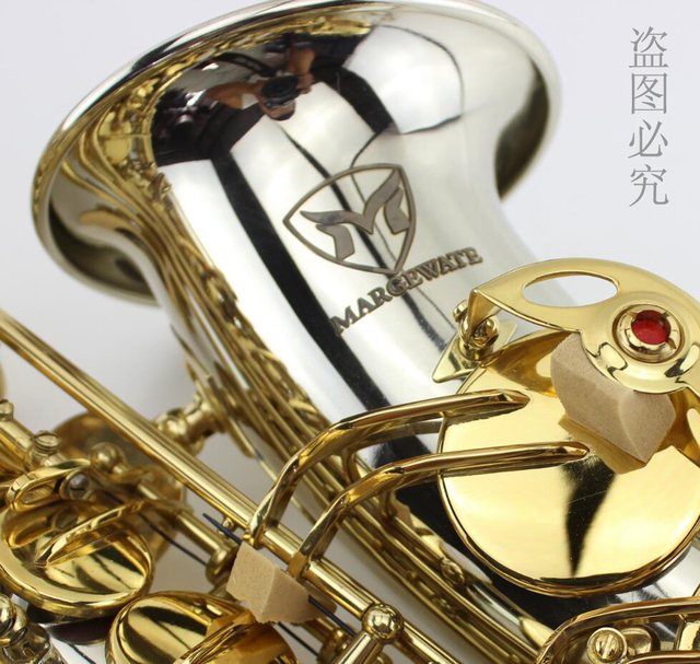 MARGEWATE Низкая цена высокого качества Белый медь золотой ключ альт-саксофон с мундштуком, перчатки, чехол. alto Eb sax