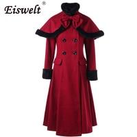 Cooler Master Vintage Women Coat Wool Blend Cloaks Winter Fur Trench Coat Women Hooded Jacket Female Long Back Lace Up Outwear