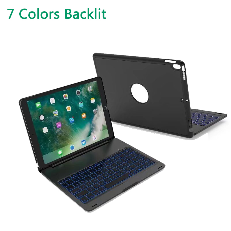 Wireless Bluetooth Keyboard Case for iPad Pro 10.5 inch 2017 LED 7 Colors Backlit Aluminum Alloy Folio Back Hard Stand Cover aluminum keyboard cover case with 7 colors backlight backlit wireless bluetooth keyboard