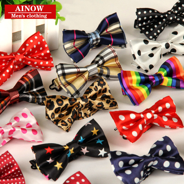 3dff5169fb5c Children baby kids boys bow tie polyester silk casual bowties print grid  dot for party wedding 100pcs/lot