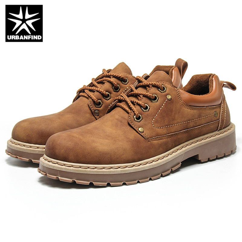 URBANFIND Men Casual Leather Shoes Men Martins Leather Shoes Work Safety Shoes Winter Waterproof Ankle Botas(China)