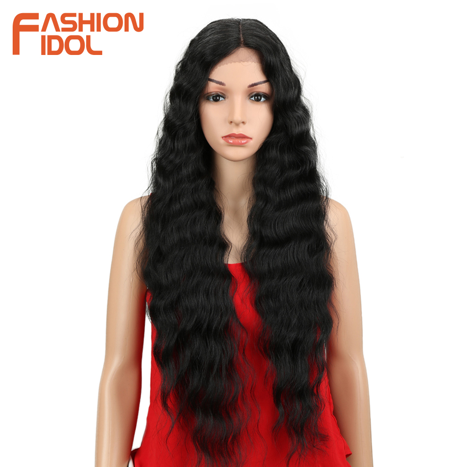 FASHION IDOL Synthetic Lace Front Wig Natural Hair Wig Black 25-30 Inch Deep Wave Super Long Wavy Synthetic Wigs For Black Women