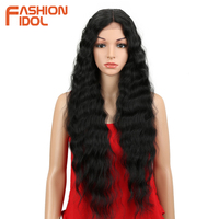 FASHION IDOL Synthetic Lace Front Wig Natural Hair Wig Black 30Inch Deep Wave Super Long Wavy Synthetic Wigs For Black Women