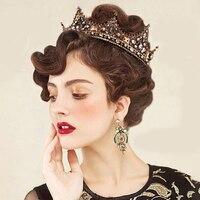 ESERES Vintage Baroque Queen Crown Full Round Retro Copper King Diadem Wedding Hair Accessories Jewelry couronne de mariage