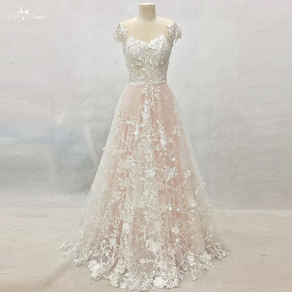 RSW1417 Yiaibridal Trabalho Real Cap Mangas Vestidos De Noiva Sem Encosto Vestido De Noiva Floral