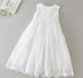 a0457d23 2 piezas por juego bebé niña vestido de bautismo blanco niña encaje flores  bordado bautizo vestido largo sombrero 0-24meses