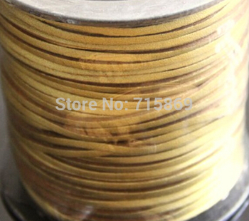 Free Ship 100 Meters 10mm  Gold Color  Flat ONE SIDE Leather Flat Faux Suede Leather Cord