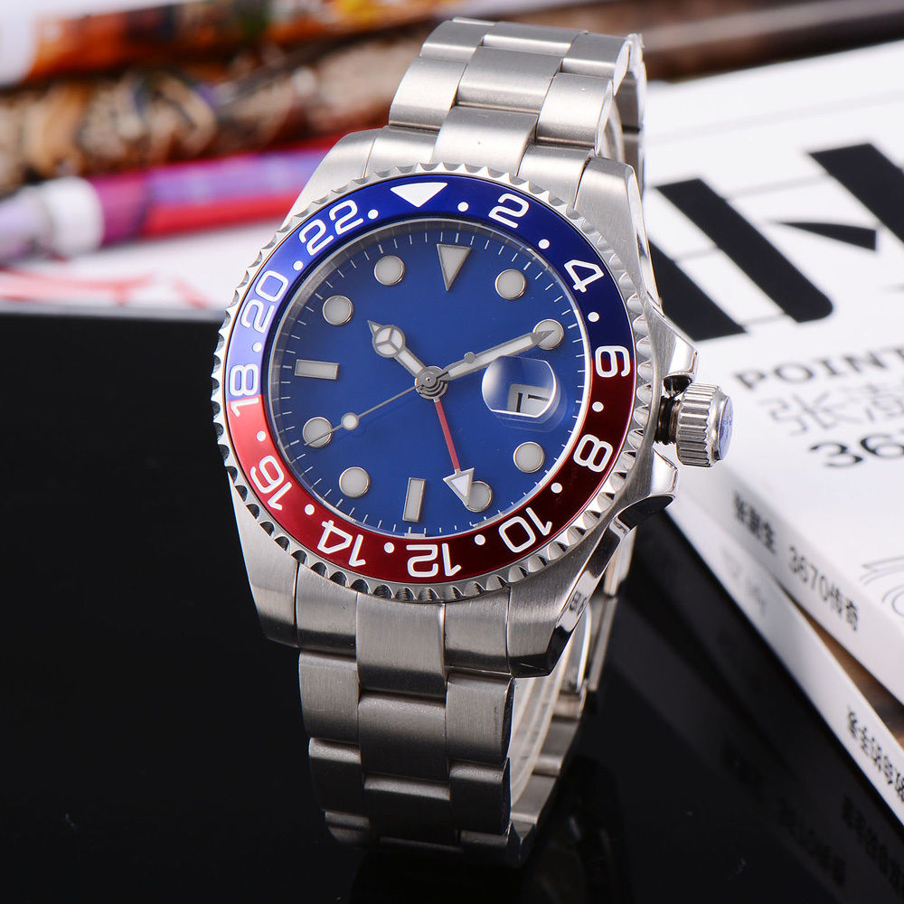 43mm Blue Red Rotatable Bezel GMT Watch Sterile Dial Sapphire Glass Mens Automatic Wrist Watch Stainless Steel Bracelet stylish 8 led blue light digit stainless steel bracelet wrist watch black 1 cr2016