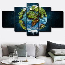 Laeacco Canvas Calligraphy Painting 5 Panel Cartoon Earth Globe Decorative Wall Artwork Pictures For Living Room Home Decoration