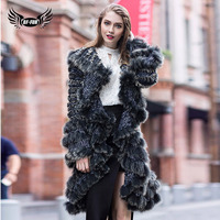 BFFUR Knitted Rex Rabbit Fur Womens Coats 2018 Bohemian Fashion Slim Winter Women's Park With Natural Fur Parka Real Fur Full
