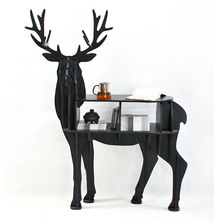 European creative elk deer animal shaped wooden bookcase shelves console table ornament creative home decoration coffee desk